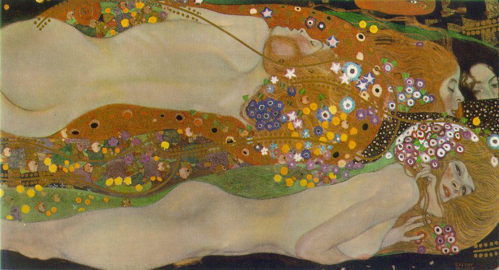 Gustav Klimt - Water Serpents II (Bewegtes Wasser sfondo)